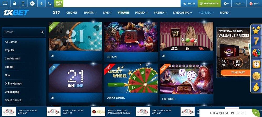 Casino games 1xBet